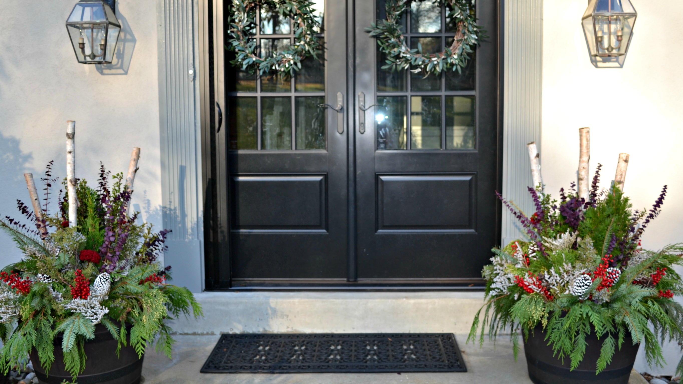 holiday door front ideas to your christmas for outdoor decorate porch festive planters planter pin